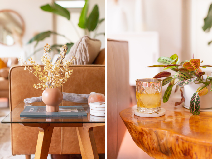 How to Transition Your Decor Into Fall   Easy and inexpensive fall decorating ideas   JustineCelina's Inner City Calgary bohemian, mid-century modern apartment   A Bohemian, Mid-Century Modern Living Room featuring Dried Arrangements and a Glass of Scotch   Fall Decor 2019 Trends   Bohemian, Mid Century Modern Fall Decor   Pantone Fall Winter 2019 / 2020 Interior Design Trends   Fall Decorating DIY   Calgary Lifestyle, Interior Design and Home Decor Blogger // JustineCelina.com