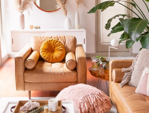 How to Transition Your Decor Into Fall | Easy and inexpensive fall decorating ideas | JustineCelina's Inner City Calgary bohemian, mid-century modern apartment | A Bohemian, Mid-Century Modern Living Room featuring Urban Outfitters Round Pintuck Pillow in Mustard | Fall Decor 2019 Trends | Bohemian, Mid Century Modern Fall Decor | Pantone Fall Winter 2019 / 2020 Interior Design Trends | Fall Decorating DIY | Calgary Lifestyle, Interior Design and Home Decor Blogger // JustineCelina.com