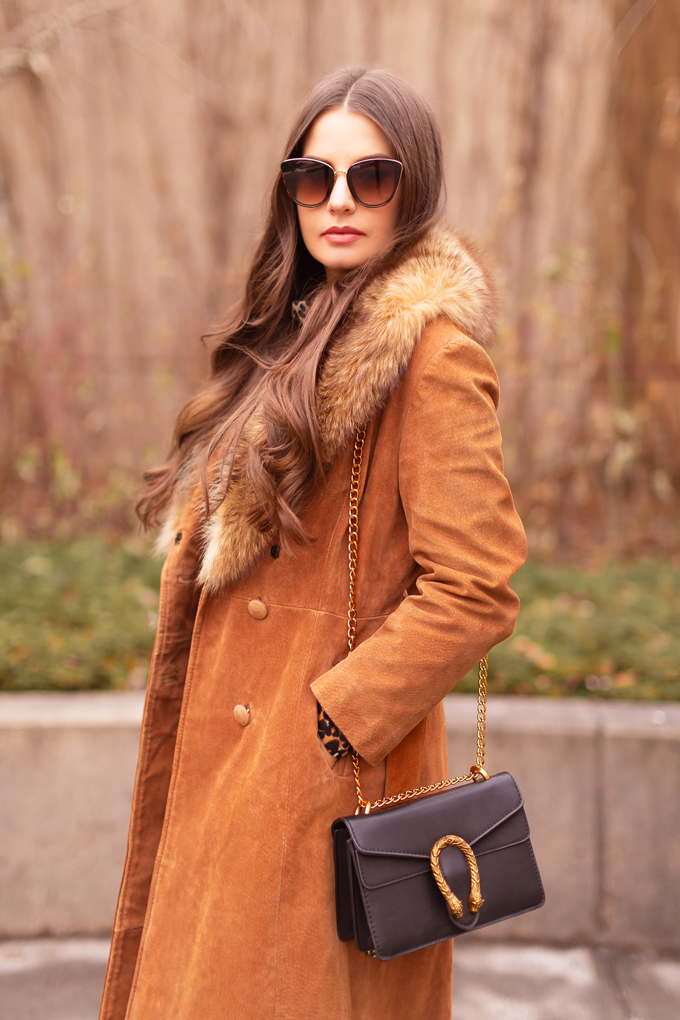 Autumn 2019 Lookbook: Vintage Viven   Top Fall / Winter 2019 Trends   Top Autumn 2019 Trends and How to Wear Them   Brunette woman wearing a vintage cognac suede snakeskin coat with fox fur collar, leopard print sweater dress, black knee high boots, black Gucci Dionysus bag and tortoise cat eye sunglasses   Vintage Inspired Fall / Winter 2019 Outfit Ideas   How to Style a Vintage Coat for fall / winter 2019   How to style knee high boots   Top Calgary Fashion Blogger // JustineCelina.com
