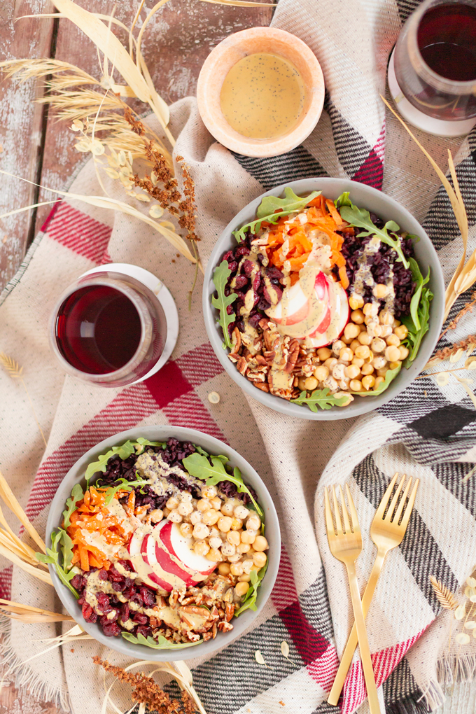 Fall Harvest Bowls with Creamy Poppyseed Dressing | A 30 minute #vegan meal made with seasonal produce and pantry staples | Harvest Grain Bowls | Warm Autumn Grain Bowl Recipe | Healthy Fall Salads | Delish Power Bowl | Easy Healthy Vegan Fall Recipes | Veggie Packed Buddha Bowl | Autumn Veggie Bowl | Fall Plant Based Recipes | Vegan Harvest Bowl Recipe | Fall Bowl Recipes | #glutenfree Harvest Bowl | How to Make Tahini Dressing | Creamy Nutritional Yeast Salad Dressing // JustineCelina.com
