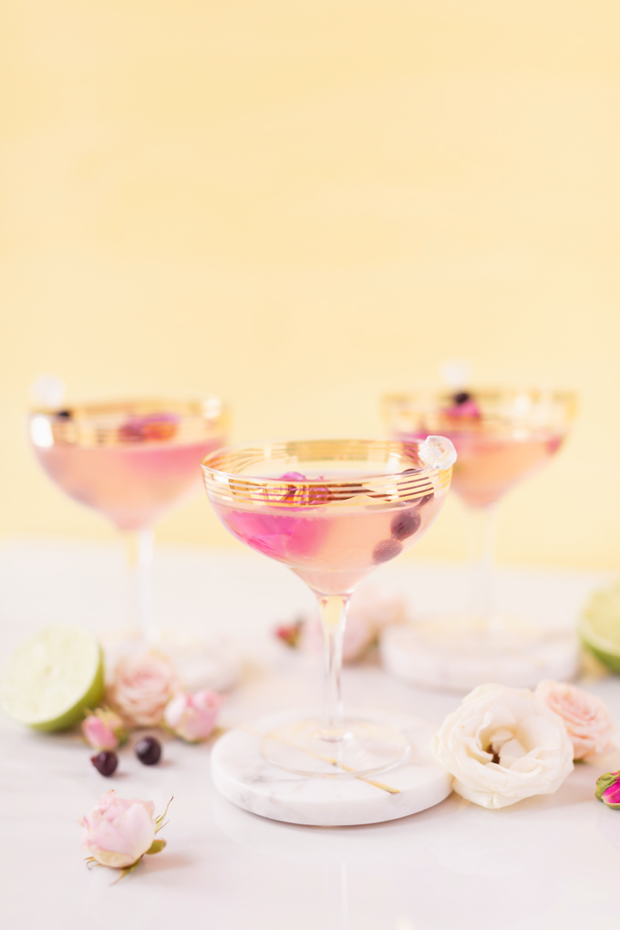 Honeyed Saskatoon Cherry Gimlet | A 4 ingredient craft cocktail made with Eau Claire Distillery's Saskatoon Honey Gin | Refined Sugar Free Gin Cocktail | A simple gimlet made with artisanal gin, Saskatoon berries, Alberta honey, Fee Brothers Cherry Bitters and fresh lime juice | The Best Easy Gin Cocktails | Simple Spring Gin Cocktail | Pink gin cocktails in gold rimmed coupe glasses garnished with Saskatoon berries and pink roses | Calgary Cocktail and Lifestyle Blogger // JustineCelina.com