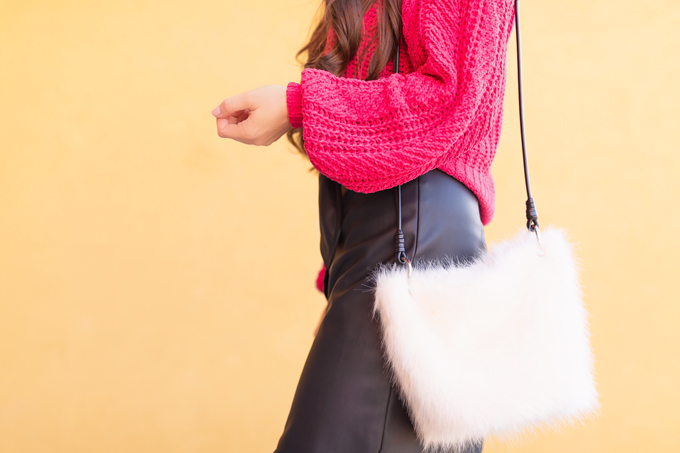 WINTER / SPRING 2020 LOOKBOOK   Urban Chic   Brunette woman wearing a Vegan Leather Button Down Midi, Chenille Magenta Statement Sleeve Sweater, Zara Houndstooth Beret, Black Circular Sunglasses, Cream Faux Fur Bucket Bag and Satin Black OTK Pointed Toe Boots   Top Transitional Winter to Spring 2020 Trends   Canadian Winter / Spring Lookbook   How to Wear Spring 2020's Mini Dress   Transitional Winter to Spring Fashion for Canadians // JustineCelina.com