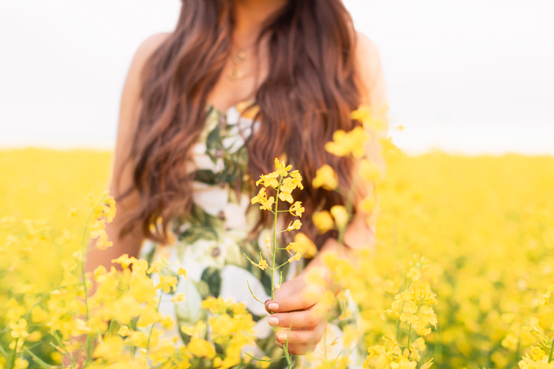 Summer 2020 Lookbook | Boho Summer 2020 Outfit Ideas | Summer Capsule Wardrobe | Classic Summer Outfit Ideas | The Best Linen Dresses 2020 | Brunette woman in a field of canola wearing a lemon print sundress | Yellow Flower Field | Wheatland County, Alberta, Canada Canola Field | Summer 2020 Bohemian Style Ideas | Boho Casual Summer Dresses | Summer 2020 Fashion | Best H&M Dresses Summer 2020 | Alberta Canola Fields 2020 | Calgary, Alberta, Canada Creative Lifestyle Blogger // JustineCelina.com
