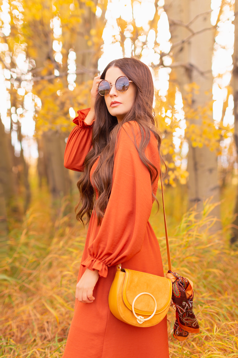 Early Autumn 2020 Lookbook | Cozy Coatigan | Brunette woman wearing round tortoise sunglasses, a rust smocked peasant sleeve dress and mustard crossbody saddle bag with a vintage paisley scarf tied around the strap against beautiful fall foliage | Top Fall 2020 Trends | Boho Fall 2020 Outfit Ideas | Top Fall 2020 Trends | How to Style a Coatigan | The Best Coatigans | Bohemian Fall outfit Ideas | Cottagecore Fall Outfit Ideas | Calgary Alberta Fashion & Lifestyle Blogger // JustineCelina.com
