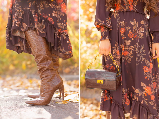 Fall 2020 Lookbook | Chocolate Chic | Brunette woman wearing a brown floral midi dress, brown croc embossed bag, Sam Edelman Fraya Toasted Coconut Boots | Fall in Calgary | Fall / Winter Outfit Ideas | Timeless Fall Outfit Ideas | fallwinter 2020 2021 fashion trends | How to match your face mask to your outfit | fall 2020 fashion color trends | Monochromatic Fall Outfit | The Best Midi Dresses for Fall | How to Style Knee High Boots | Calgary Alberta Fashion Blogger // JustineCelina.com