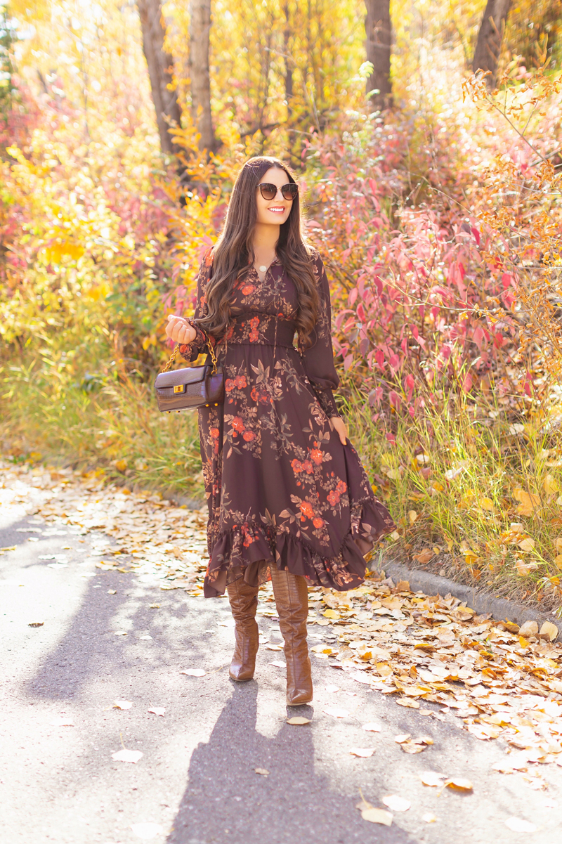 Fall 2020 Lookbook | Chocolate Chic | Brunette woman wearing a brown floral midi dress, brown croc embossed bag, Sam Edelman Fraya Brown Boots & tortoise cat eye sunglasses | Fall in Calgary | Comfortable Fall / Winter Outfit Ideas | Timeless Fall Outfit Ideas | fallwinter 2020 2021 fashion trends | How to match your face mask to your outfit | fall 2020 fashion color trends | Monochromatic Fall Outfit | Calgary Alberta Fashion Blogger // JustineCelina.com