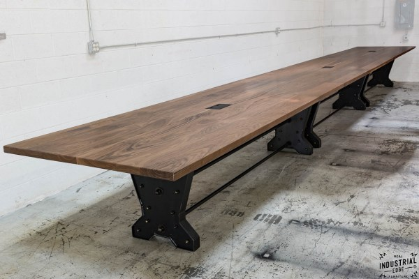30 Foot Walnut & Steel Conference Table Real Industrial