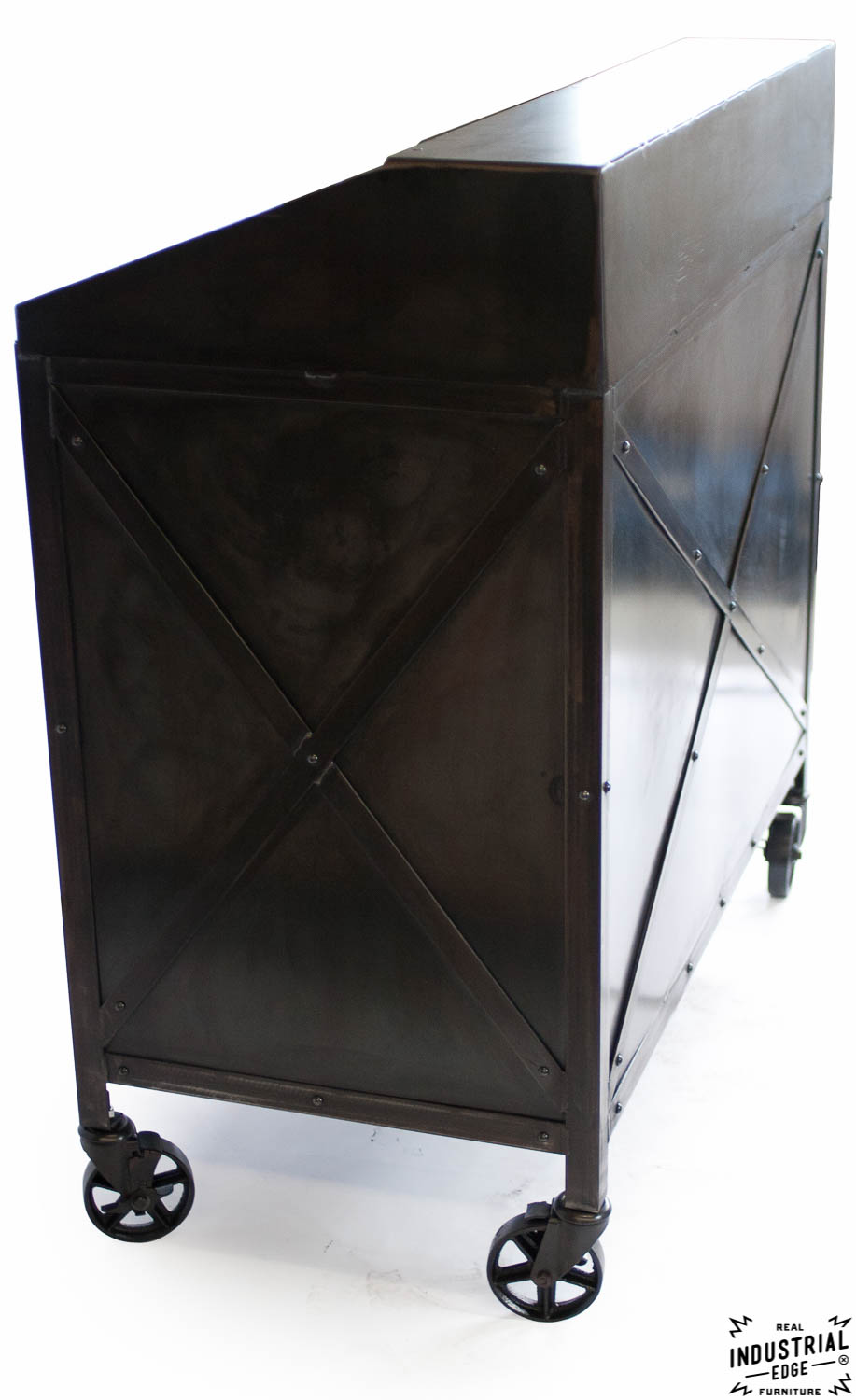 Industrial Custom Hostess Stand  Rolling  3 Door  Real