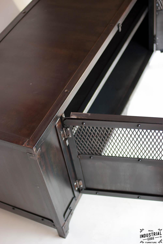 rolling island kitchen play wood custom industrial chic media cabinet / steel 2 door – real ...