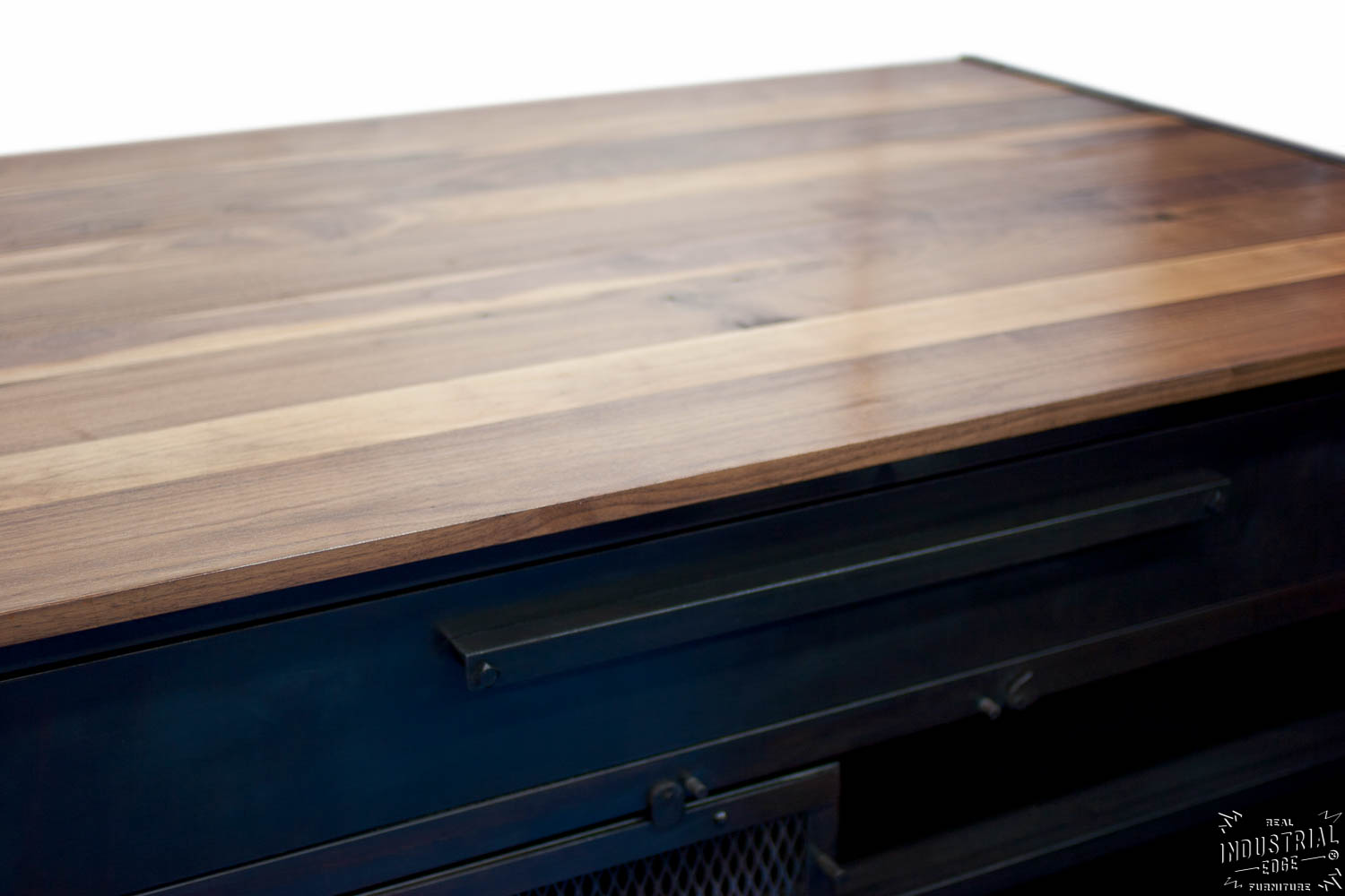 solid wood kitchen island japanese knives industrial / reclaimed & steel – real ...