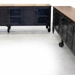 Industrial Kitchen Island Cheap Cabinet Custom 9 Foot Rolling Media / Wood ...