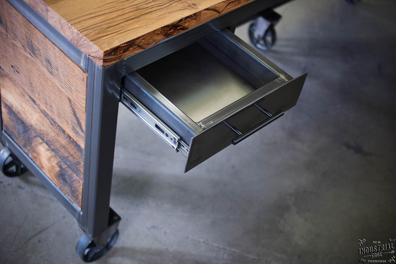 Reclaimed Wood  Steel Reception Desk  Real Industrial
