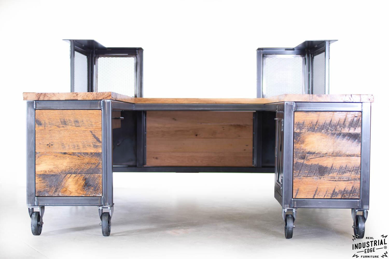 Reclaimed Wood  Steel Reception Desk  Real Industrial Edge Furniture  Custom Industrial