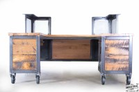 Reclaimed Wood & Steel Reception Desk  Real Industrial ...