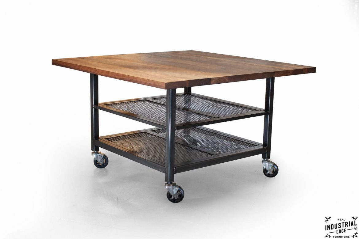 rolling kitchen island with seating design ideas 2014 walnut & steel industrial / dining table ...