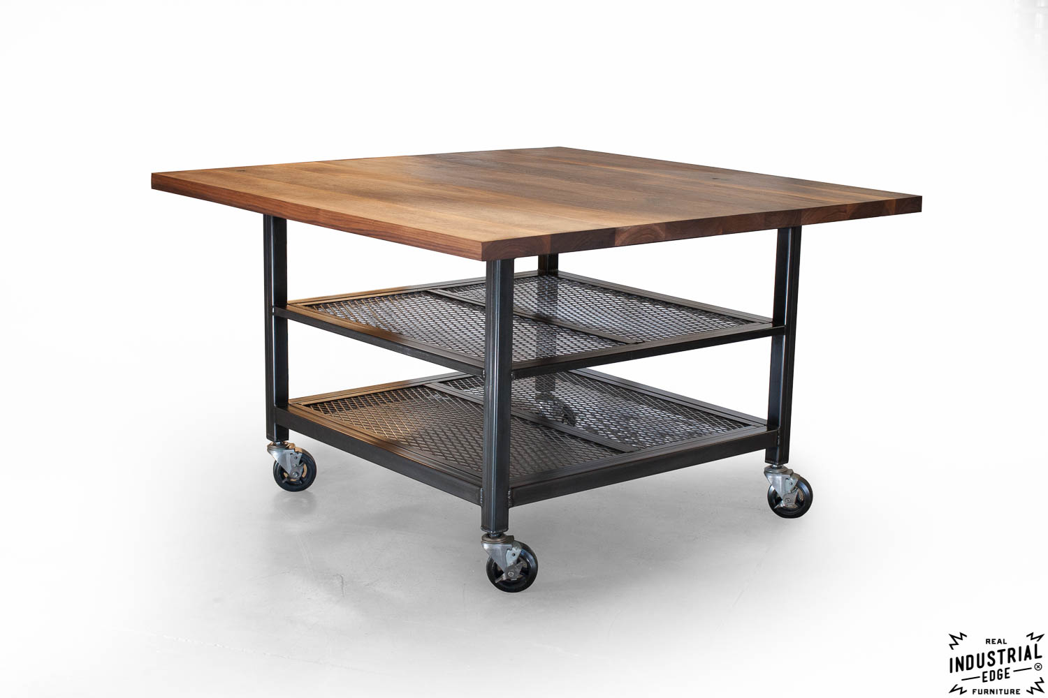 industrial kitchen table island with built in stove walnut and steel dining