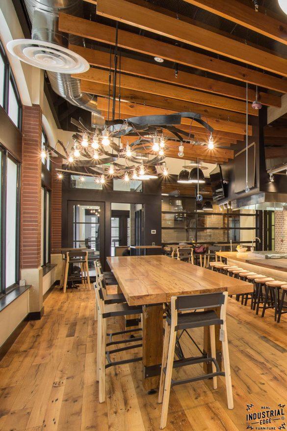Community Tasting Table  Reclaimed Heart Pine  Steel