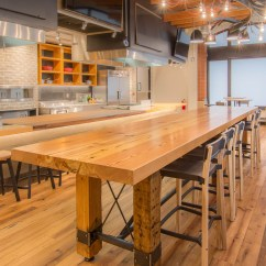 Bar Top Kitchen Tables Side Table Community Tasting / Reclaimed Heart Pine & Steel ...
