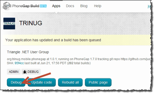 PhoneGap Build debug button