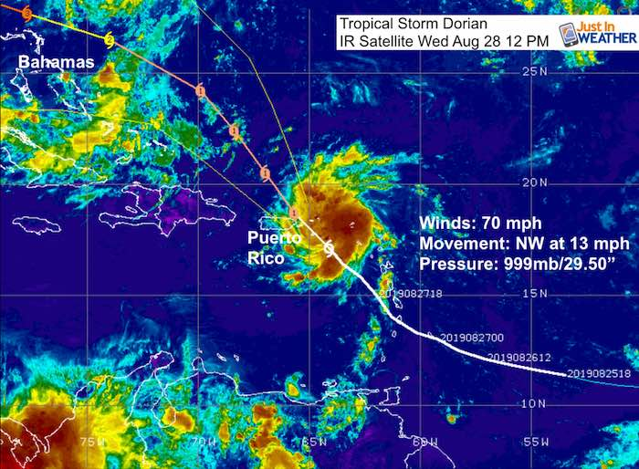 tropical storm dorian winds