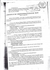 Facsimil 1: Certificat de moștenitor.