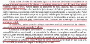 Extras din decizia Tribunalului Brașov, pronunțată în mai 2014, prin care se dispune anularea titlului de proprietate al familiei Iohannis asupra clădirii de pe Strada Nicolae Bălcescu nr. 29.