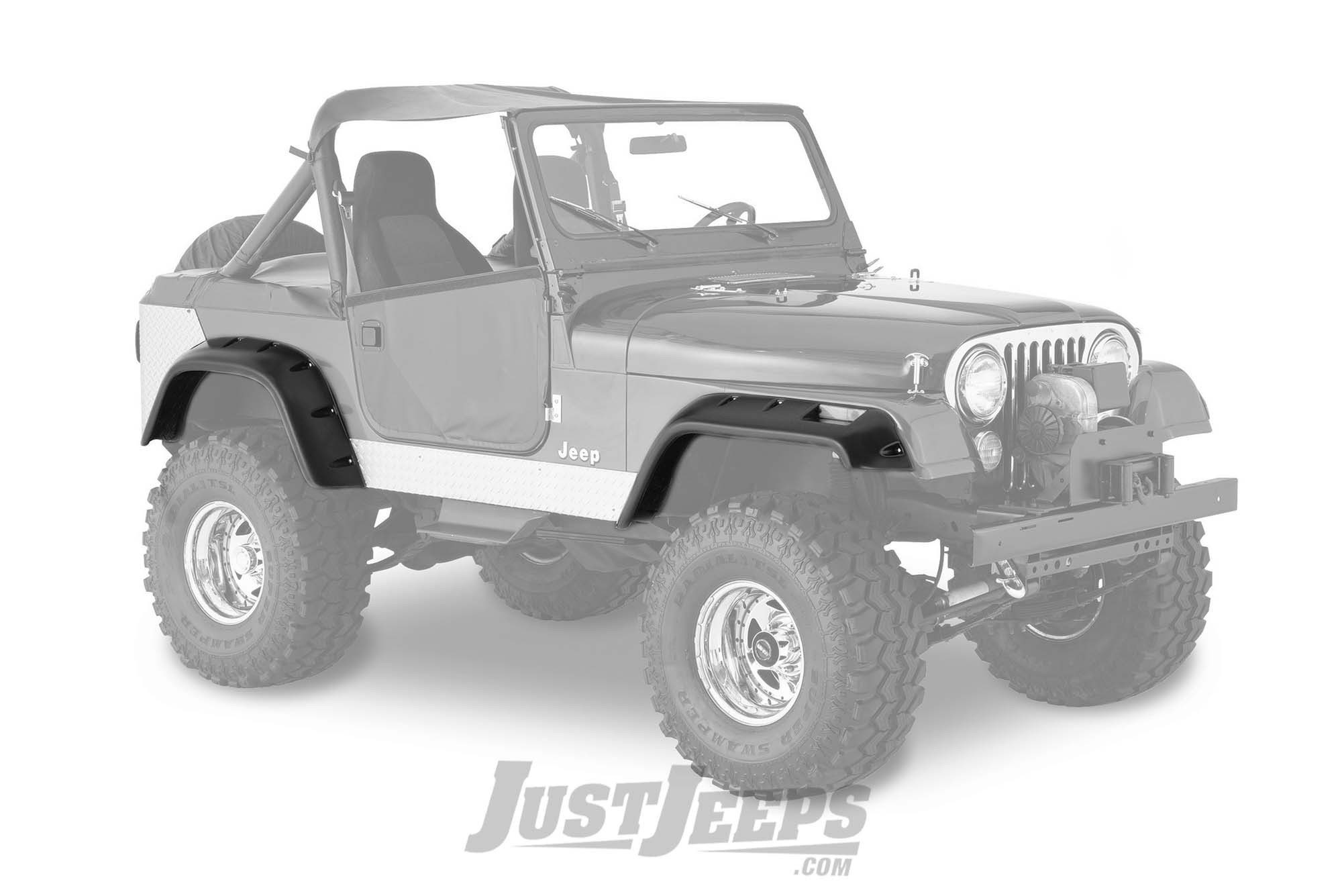 hight resolution of just jeeps bushwacker 6 cut out style fender flares for 1976 86 jeep cj5 cj7 models fenders fender flares shop by part jeep parts store in