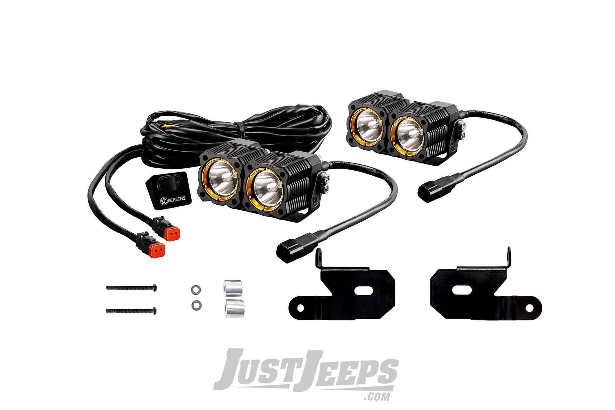 Just Jeeps Kc Hilites Spot Beam Flex Led Dual Led Lights With A Pillar Mount Brackets For