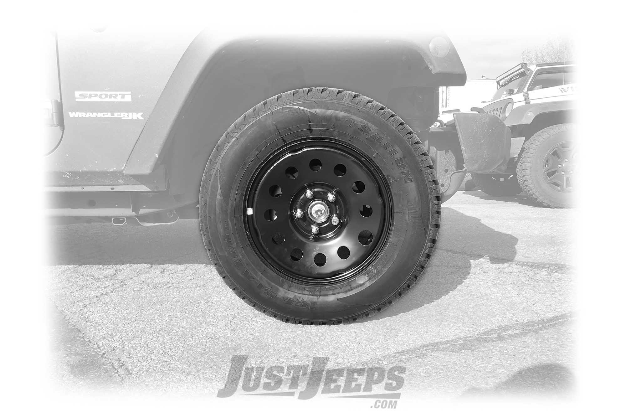 hight resolution of just jeeps 17 winter tire package with black steel wheels 265 70r17 for jeep wrangler jk jeep wrangler jk unlimited shop by vehicle jeep parts store
