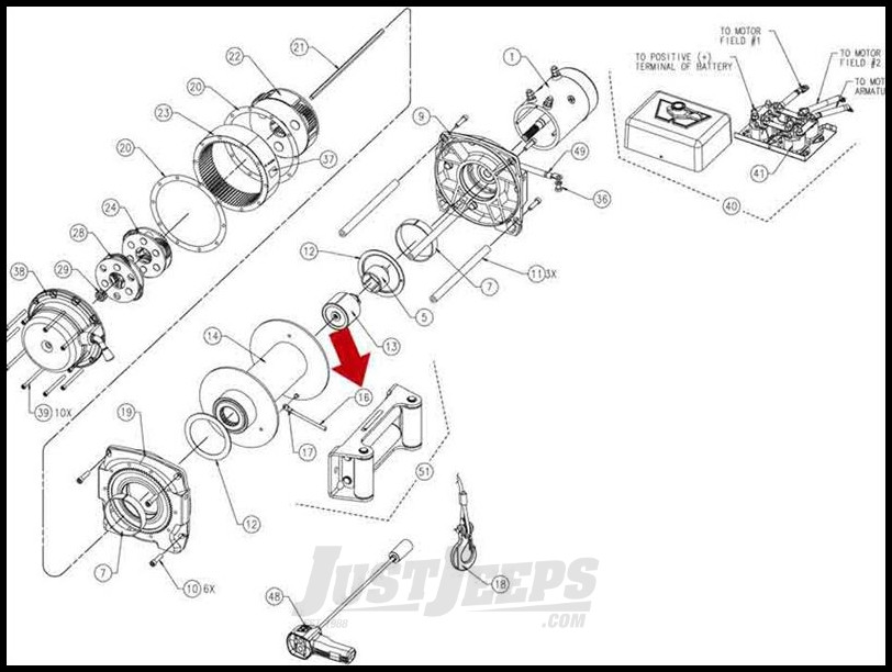 Just Jeeps WARN Replacment Wire Winch Rope 125', 3/8