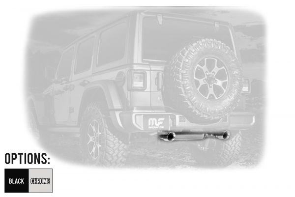 magnaflow mf series dual exit axle back exhaust system for 2018 jeep wrangler jl 2 door unlimited 4 door models 19385