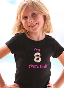 Girls Birthday Age T Shirt Im 8 Years Old Just Jen