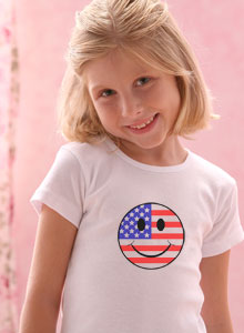 Patriotic Smiley Face With Flag T Shirt For Girls And Toddlers
