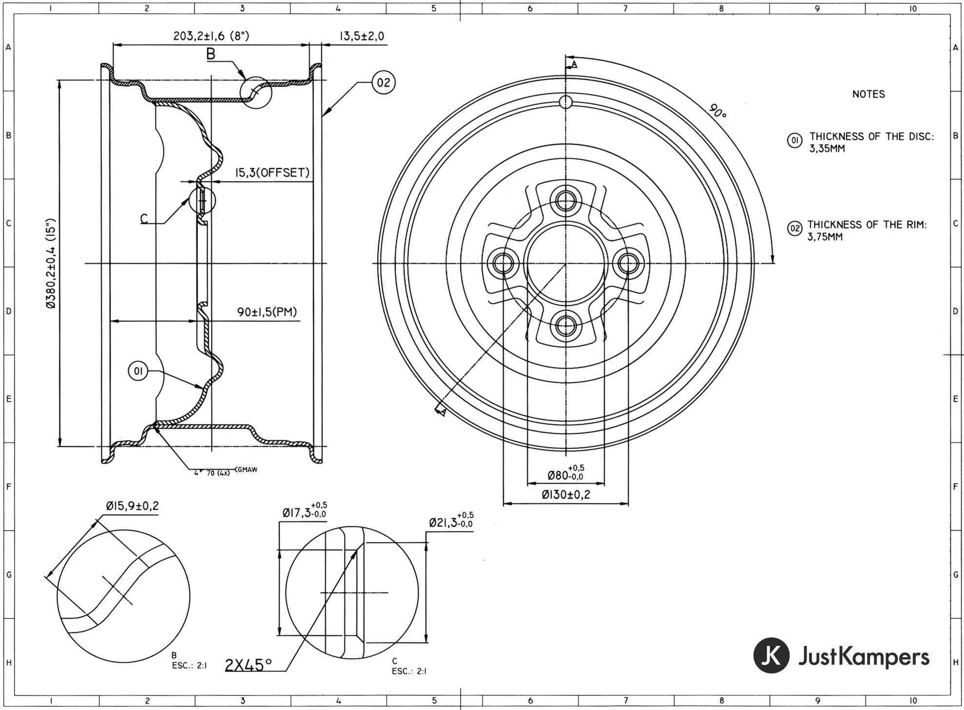 Standard Style Smoothie Wheel 8 x 15 4 x 130 VW Beetle