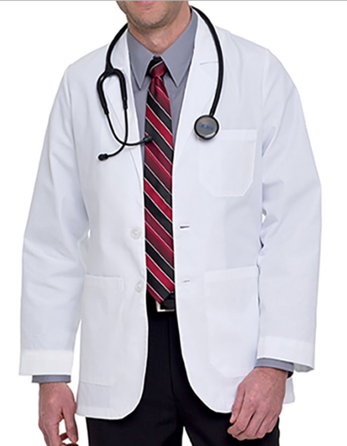 Landau Uniforms Mens 31.25 inch Two Pockets White Medical ...