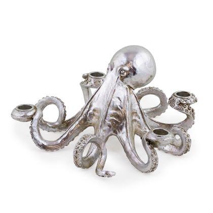 Silver Octopus Candle Holder Ornament Candelabra