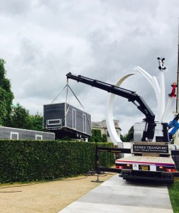 Loo trailer being craned in