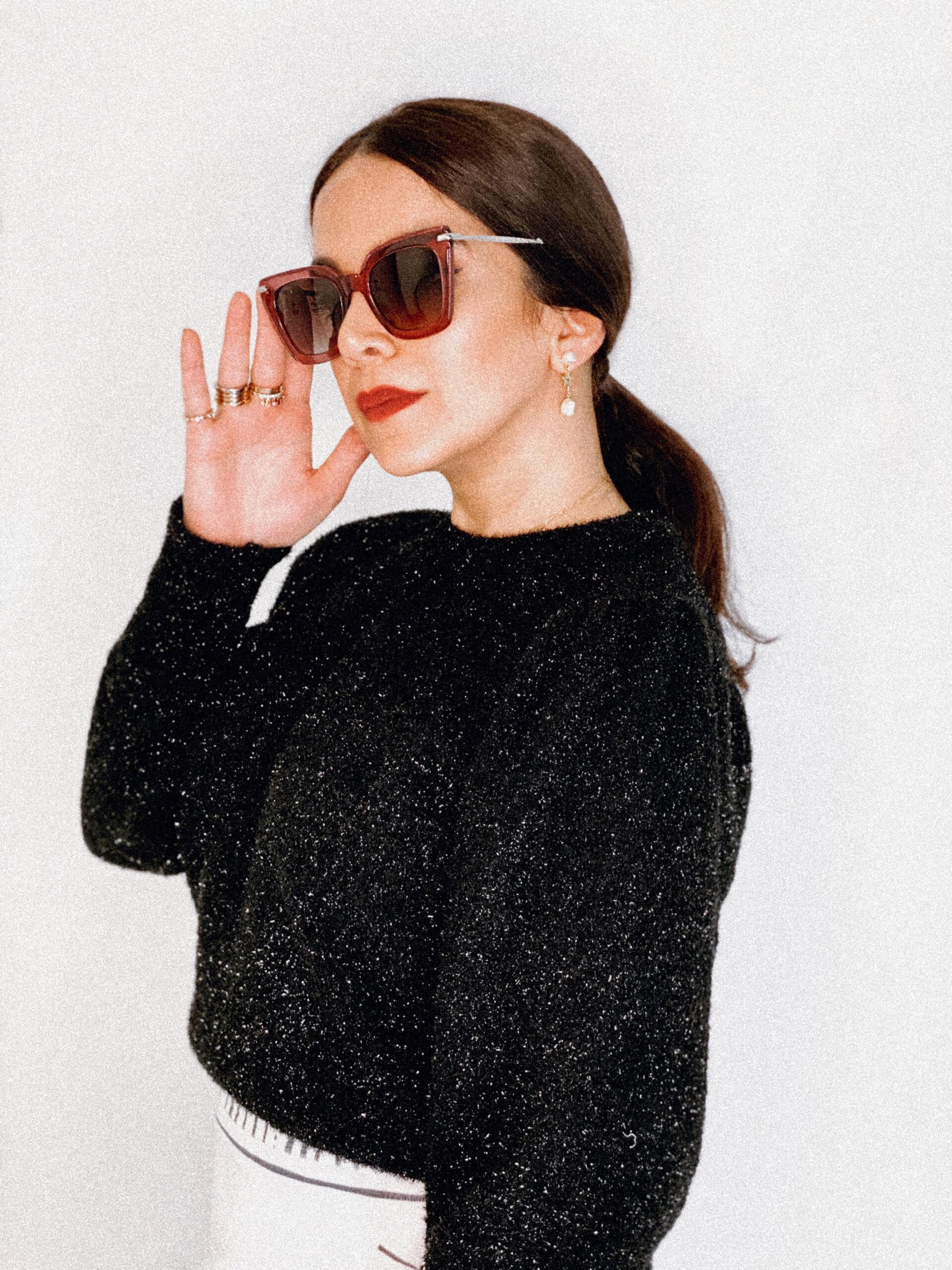 jimmy choo cat eye sunglasses on zahra lyla khalil
