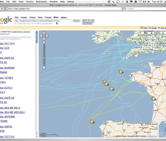 France Telecom Kingfisher Cables Via Kmz File In Google Maps Maps Google Com Maps