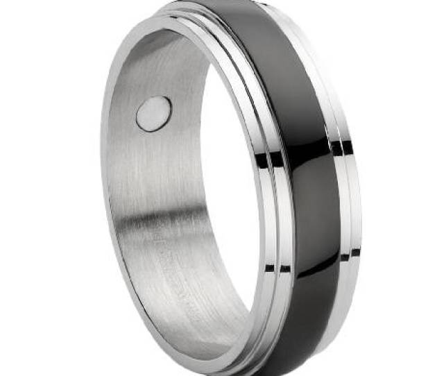 Stainless Steel Magnetic Ring With Black Enamel Inset Jss