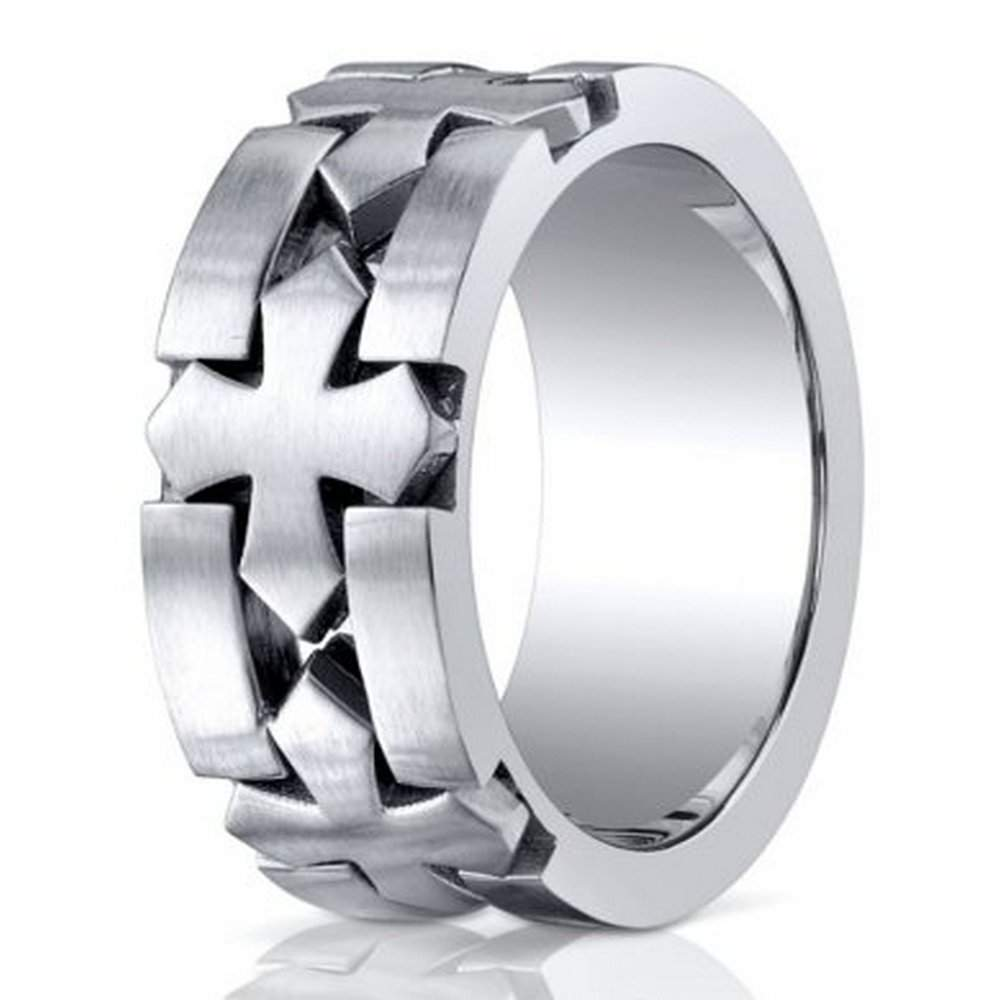 Cobalt Chrome Mens Wedding Band Celtic Cross Benchmark
