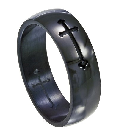 Black Stainless Steel Cross Ring For Men Polished Finish 8mm
