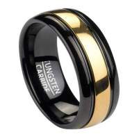 8mm Men's Black Tungsten Ring w/ Gold Tone Inlay ...