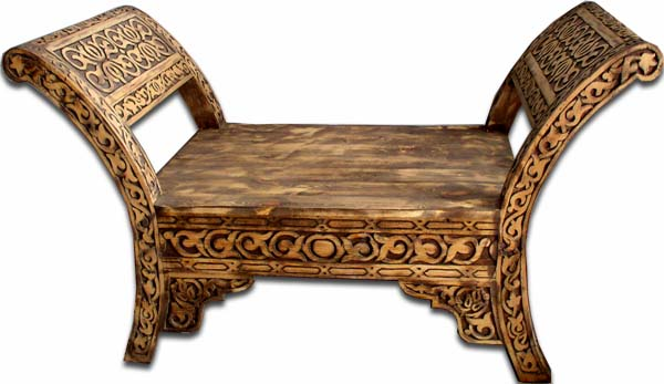 Moorish Moroccan Carved Furniture Moroccan Carved Bench