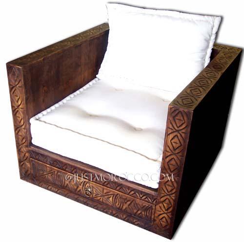 Carved chair handmade chair cedar chair moroccan chair