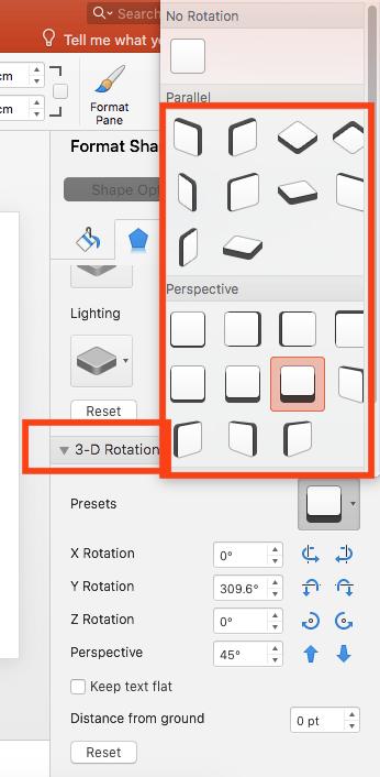 Select '3D Rotation' options