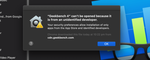 Geekbench app not supporting macOS Catalina