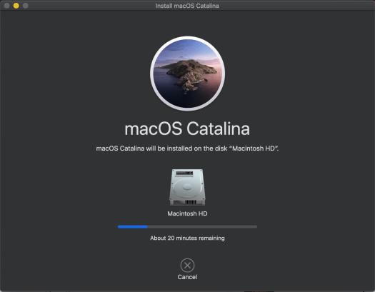 Installation in progress of macOS Catalina