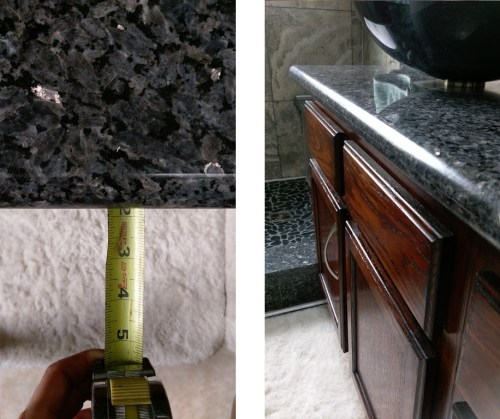 1-13/16 inch countertop overhang on a Blue Pearl granite slab.