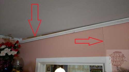 This crack appeared after the start of foundation work along with some of the crown moulding popping off.